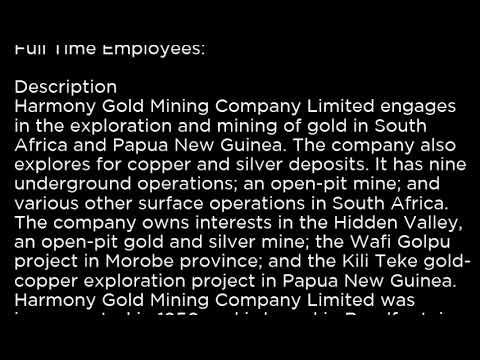 HMY Harmony Gold Mining Company Limited HMY buy or sell Buffett read basic