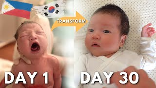 BABY TRANSFORMATION : FROM NEW BORN TO ONE MONTH UPDATE VLOG! ㅣKOREAN-FILIPINO