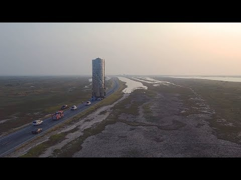 SpaceX Starship Relocated To Launch Pad (Time Lapse)