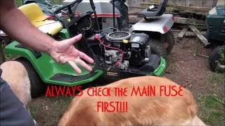 HOW TO TROUBLESHOOT and DIAGNOSE a JOHN DEERE RIDING LAWNMOWER that WON'T START