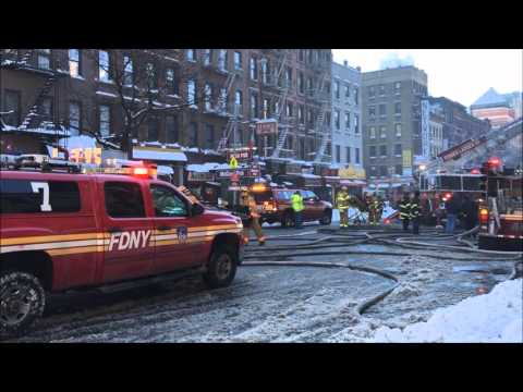 FDNY BATTLING 4TH ALARM FIRE ON 9TH AVE. IN HELL'S KITCHEN AT THE FAMOUS EMPANADA MAMA IN MANHATTAN.