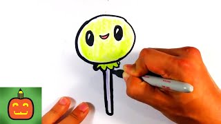 How to Draw Cute Halloween Lollipop - Halloween Drawings