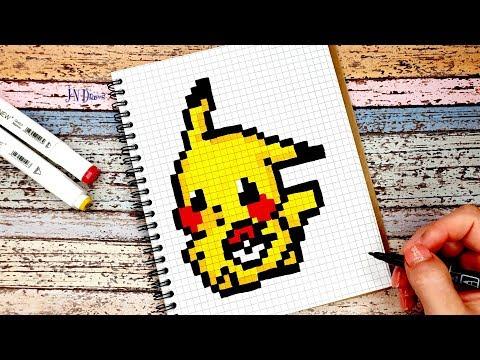 Рисуем ПИКАЧУ Рисунки По Клеточкам КАК НАРИСОВАТЬ PIXEL ART Pikachu