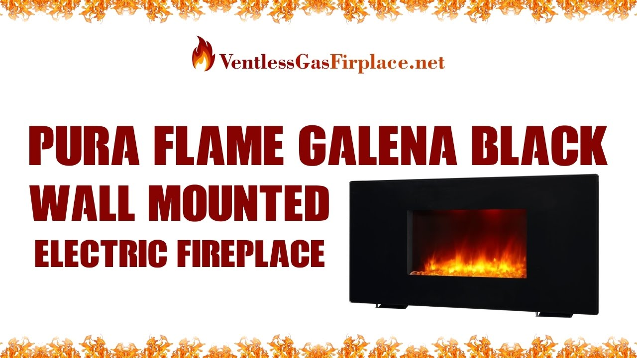 pura flame galena black wall mounted electric fireplace ventless