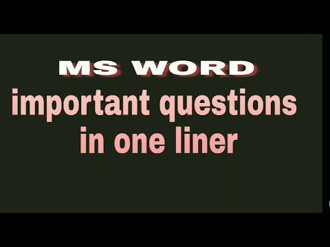 Computer || ms word important  questions for vyapam sub engineering and all competitive  exam