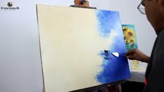 Pintando uma Tela Abstrata Com Tinta a Óleo - Espátula | Professor Costerus