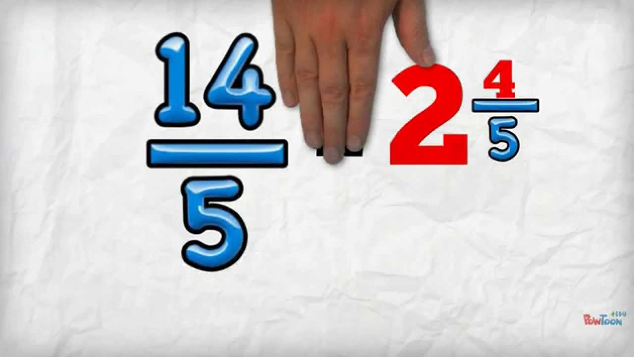 Change an Improper Fraction into a Mixed Number - YouTube