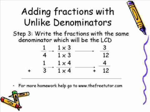 adding fractions with unlike denominators youtube. Black Bedroom Furniture Sets. Home Design Ideas