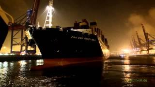 Das größte Containerschiff der Welt verlässt Hamburg