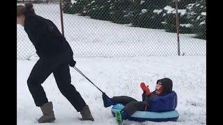 Toddler Sled - Pulling Toddler On Sled [FAIL]