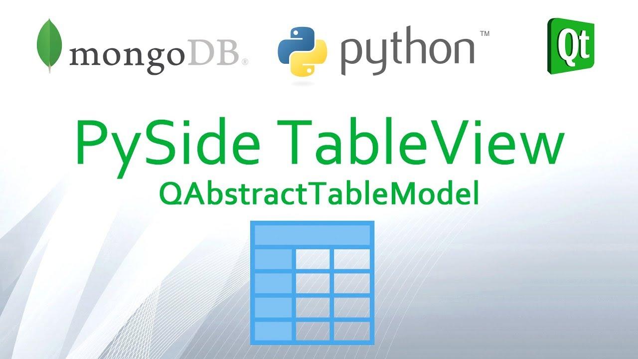 Python And Mongodb 04 Create Pyside Qtableview