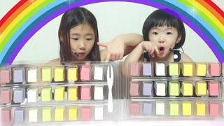 알록달록 레인보우? 큐브 치즈랑 크래커의 만남 Rainbow Cube Cheese MUKBANG