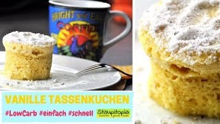 Tassenkuchen Vanille selber machen in der Mikrowelle I OHNE MEHL & OHNE Zucker I 3 Minuten Kuchen