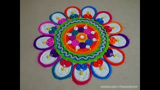 Beautiful and simple rangoli design | Rangoli by Poonam Borkar