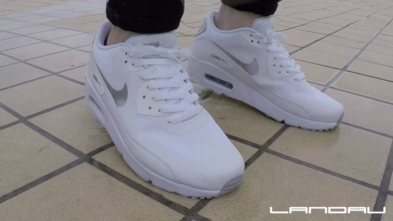 quite nice 46d22 f3ce2 👏👏NIKE SHOES MEN'S AIR MAX 90 ULTRA 2.0 ESSENTIAL WHITE METALLIC SILVER -  Watch them jump! ❤❤