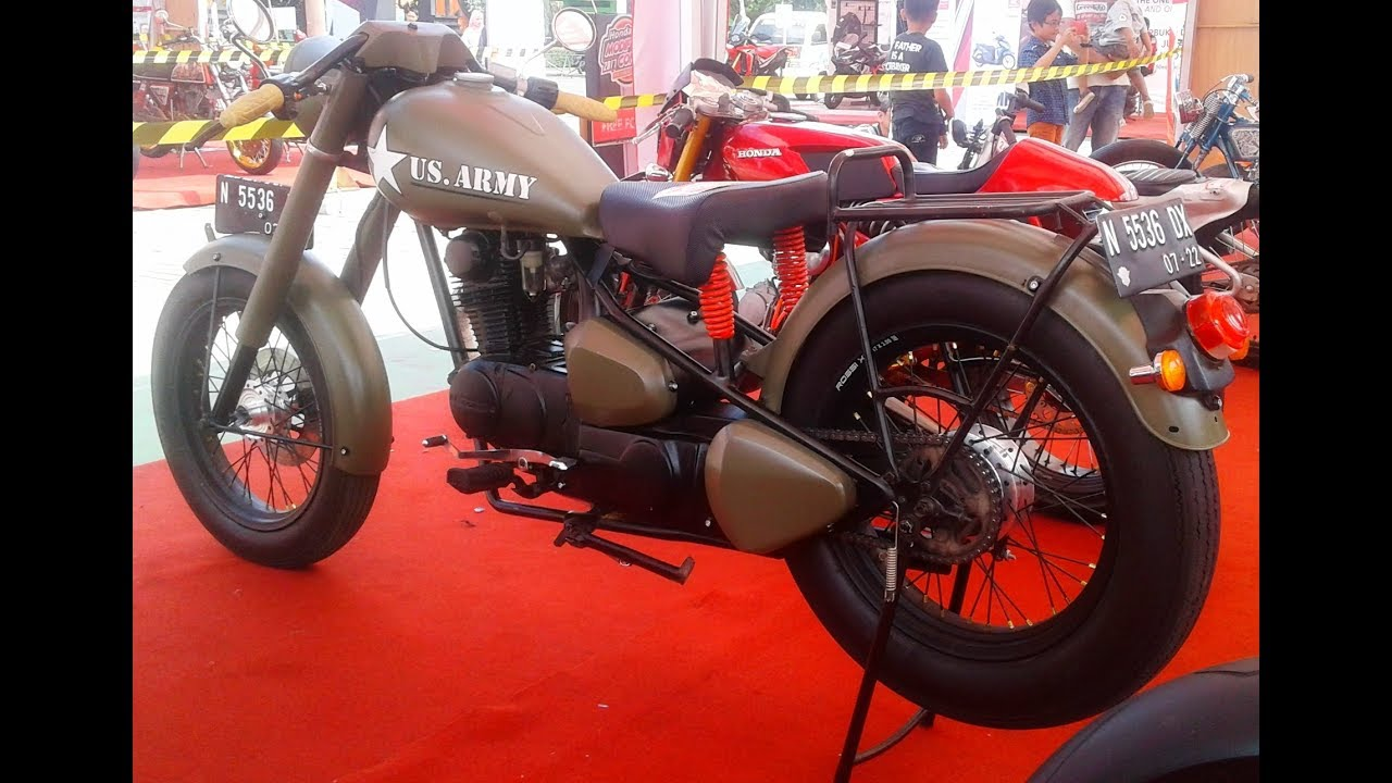 Modifikasi Klasik Honda CB 100 Custom Harley Davidson WLA US Army
