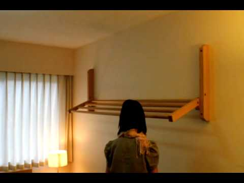 Hogan Wood Wall Mount Clothes Drying Rack Demo Avi Youtube