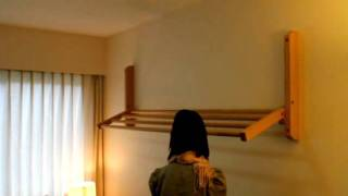 Hogan Wood wall mount clothes drying rack demo