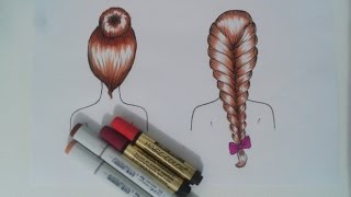 TUTORIAL - Como Desenhar Cabelo de Costas (2 tipos)