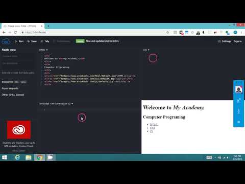 Coding HTML, CSS And JS On Jsfiddle