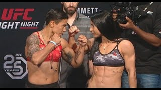 Jéssica Andrade vs. Tecia Torres - Weigh-in Face-Off - (UFC on Fox: Emmett vs. Stephens) - /r/WMMA