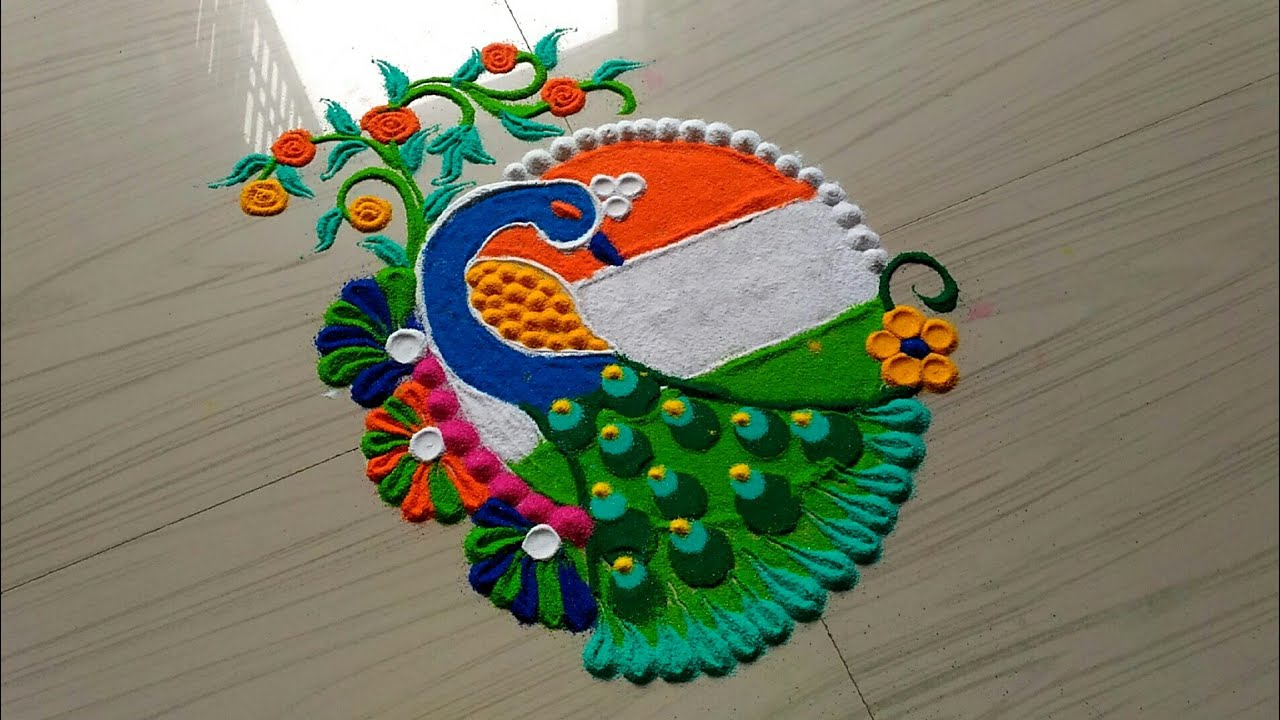 25 Rangoli Designs for Independence Day to try in 2018 - Wedandbeyond