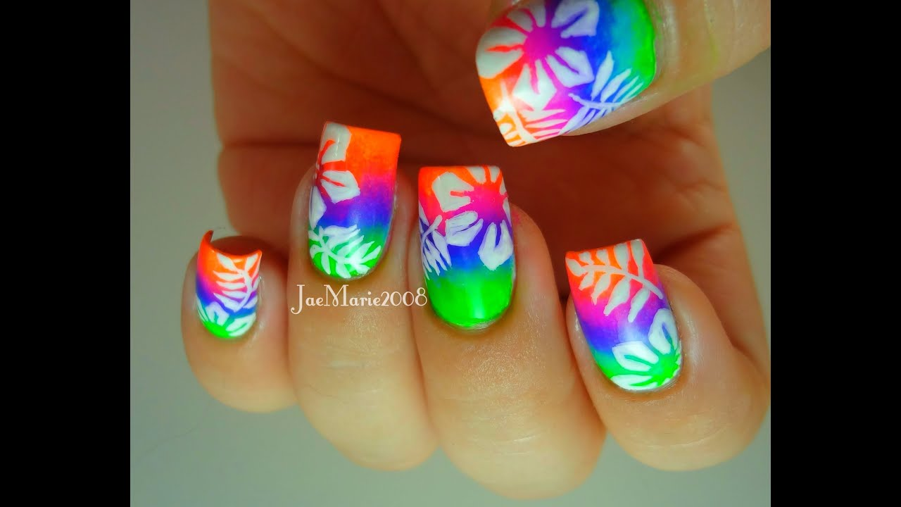 Summer Neons, Hawaiian Tropical Print Nail Design - YouTube