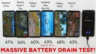 BATTERY TEST! Redmi Note 7 Pro vs Galaxy A50 vs Realme 2 Pro vs Galaxy M30 vs Max Pro M2 vs Poco F1