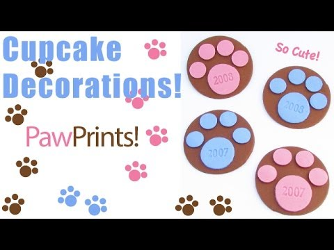 Paw Print Cupcake Decorations - YouTube