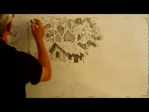 Dibujando un Paisaje Rural con Estilógrafo sobre Tablero Acrílico ...