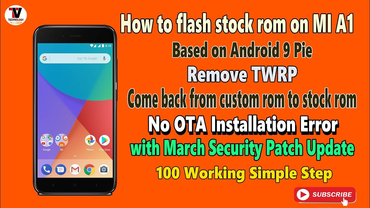 MI A1 flash stock rom || Remove twrp || Lock bootloader with OTA update