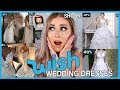 Trying on WISH APP Wedding Dresses! UNDER $40 👰 Not bad.....