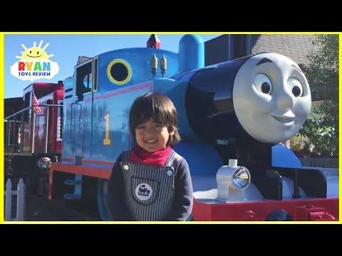 Ryan meets Giant Real Life Thomas and Friends Trains at ThomasLand Amusement Park