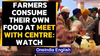 Farmers refuse food offered by the Government, bring their own food at meet with Centre | Oneindia