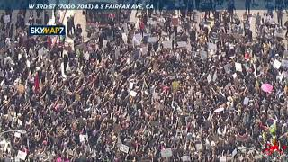 """Thousands protest in LA's Fairfax District chanting """"I can't breathe""""   George Floyd death"""