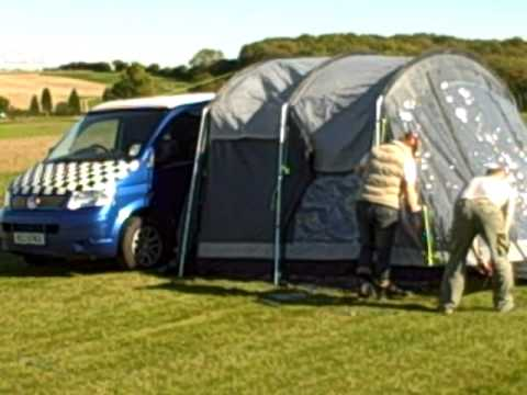 Transporter T5 putting up Outwell awning.AVI