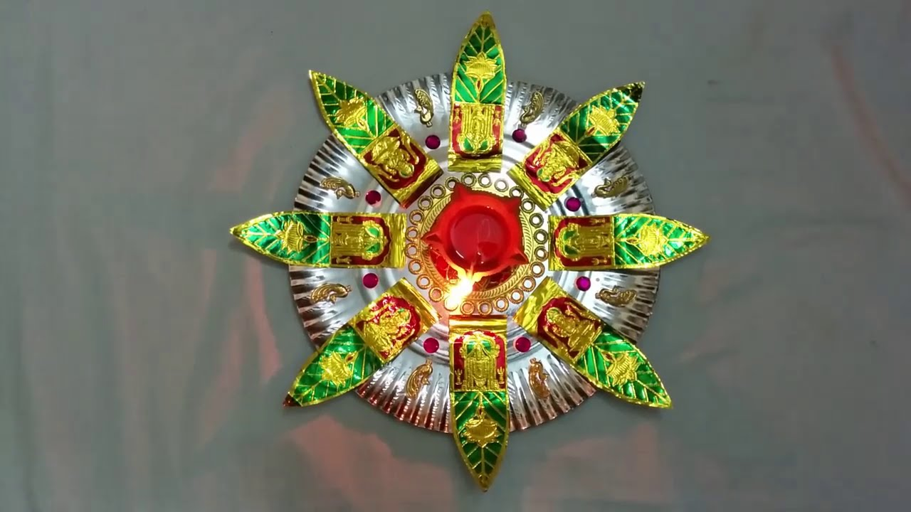 & Very Simple Homemade Aarthi Tray Decorative Plate - YouTube