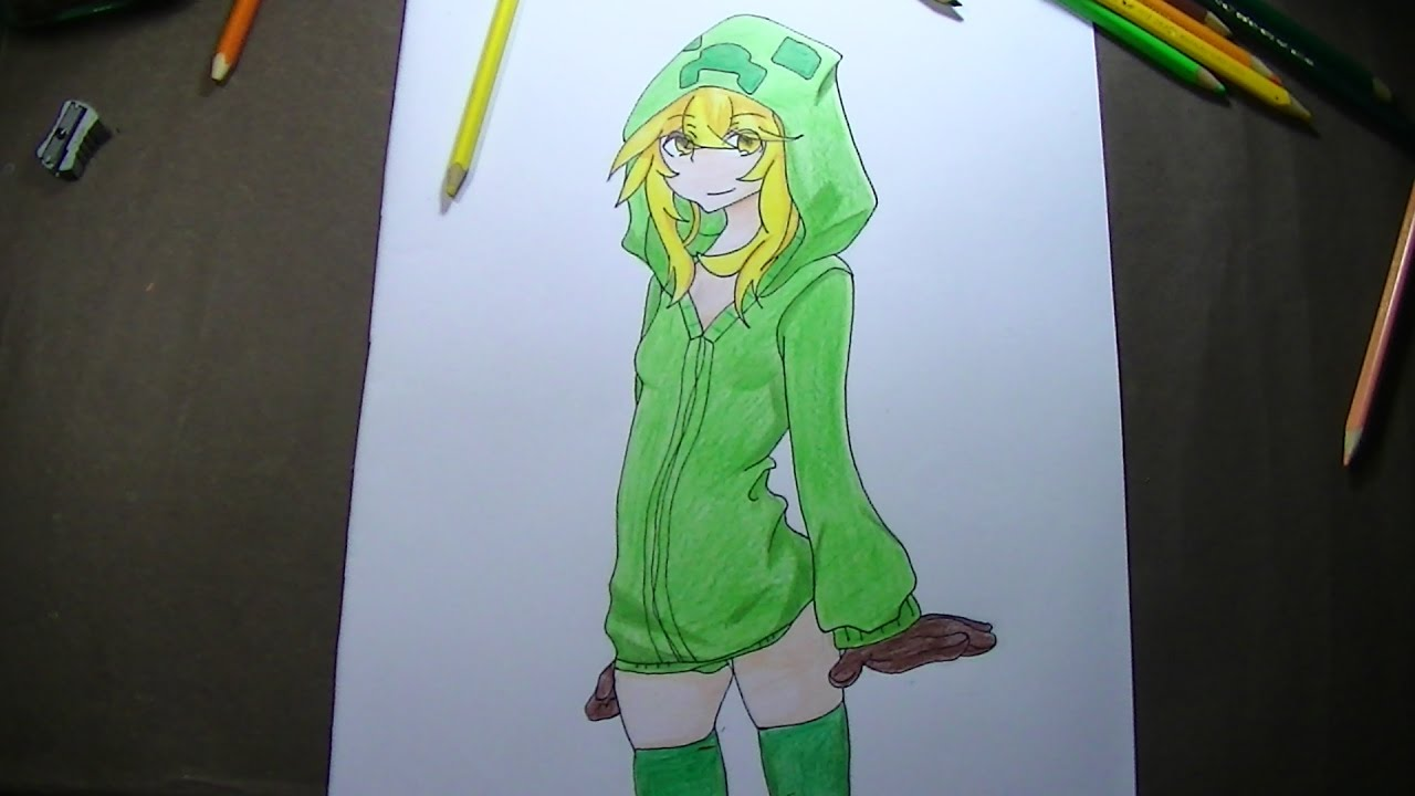 Como dibujar pintar a creeper girl anime minecraft - Creeper anime girl ...
