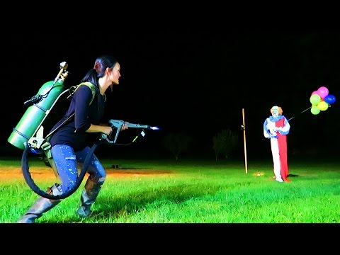 WE MADE HER DO IT!!! FLAME THROWER vs CLOWNS!!