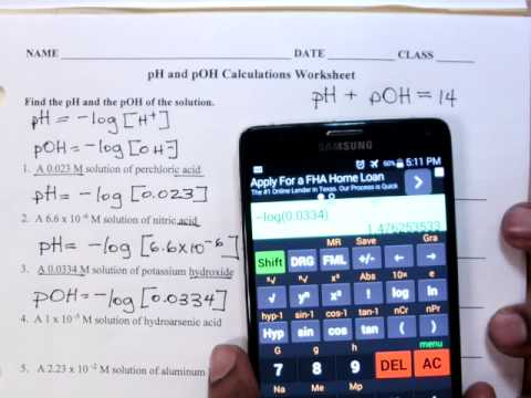 Ph And Poh Calculations Worksheet Youtube