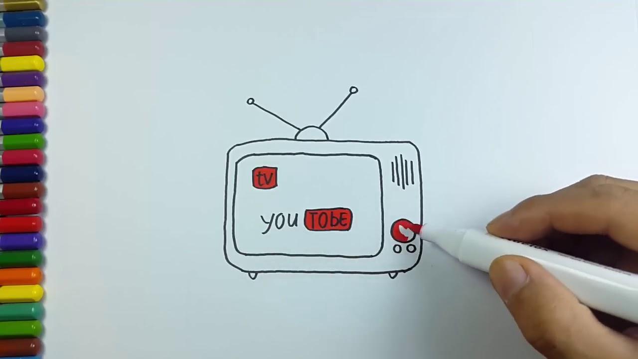 Cara Menggambar Dan Mewarnai Televisi Berwarna Youtube