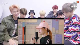 """BTS reaction to jenni's beautiful girl """"SOLO"""" (BLACKPINK) with 4 super cool languages"""