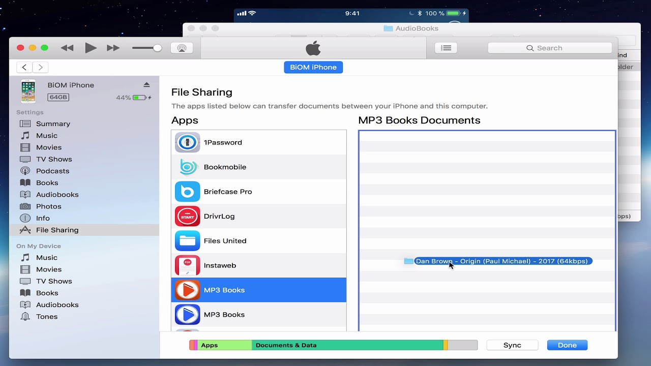 MP3 Audiobook Player - How to add a book via iTunes