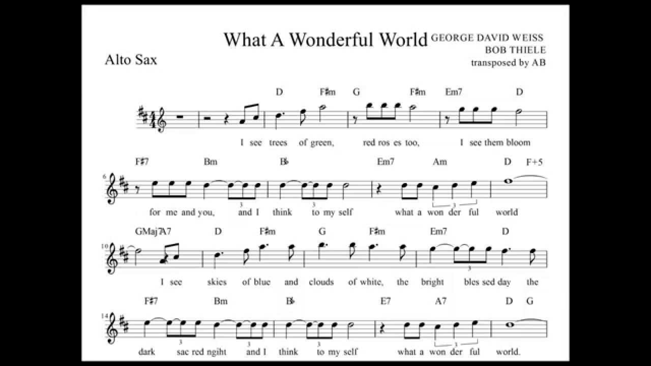 What A Wonderful World Louis Armstrong Alto Sax Sheet Music W Lyrics And Chords Youtube