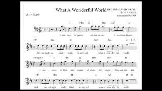 """""""what a wonderful world"""" louis armstrong alto sax sheet music w/ lyrics and chords"""