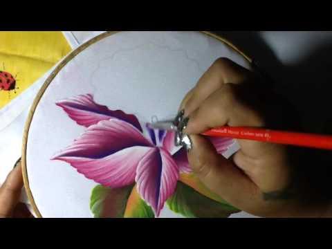 Pintura en tela orquidea semanario 4 con cony youtube - Pintura en tela dibujos ...