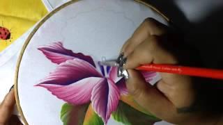 Pintura en tela Orquidea semanario 4 con cony