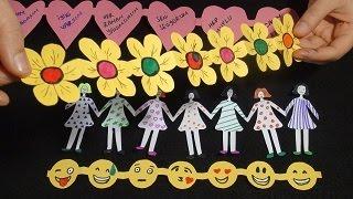 Kağıttan El Ele Tutuşmuş Çocuklar ve Yan Yana Çok Şirin Şekiller - DIY Paper Figures