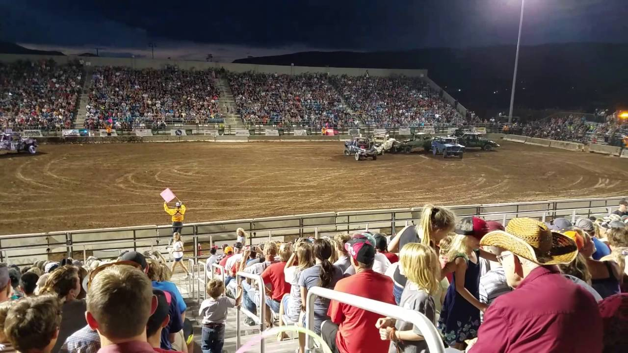 Car part Flies into crowd at heber city demolition derby 2016