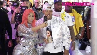 Nicki Minaj & Kenneth Petty Are Mobbed By Fans While Arriving To Her Fendi Collection Launch Party